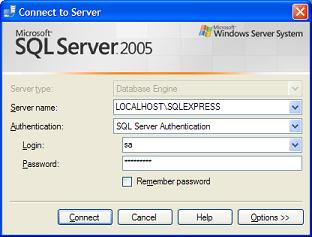 SQL Server 2005 Connect Window